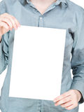 Blank sheet of paper in female hands Royalty Free Stock Photos