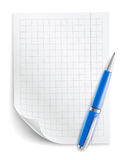Blank sheet of paper with grid and pen Royalty Free Stock Photo