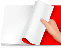 Blank sheet of paper with hand. Background vector. Stock Photos