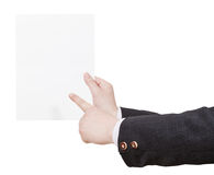 Blank sheet of paper in instructor hand Stock Image