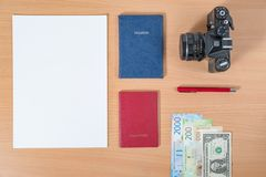 Blank sheet of paper lying on the table with a place for text royalty free stock images