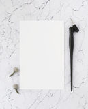 Blank sheet of paper on marble with pen for calligraphy. Stock Image