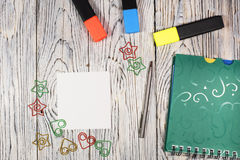 Blank sheet of paper, notepad, pen and other supplies Stock Photography