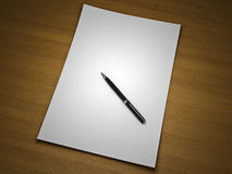 Blank sheet of paper with pen Stock Photos