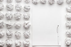 Blank sheet of paper and pen creative process Stock Photography
