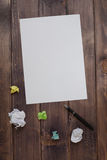 A blank sheet of paper pen and damaged the paper Royalty Free Stock Photos