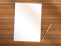 Blank sheet of paper with pen on wooden table. Copy Space. Blank sheet of white paper on wooden table. Brown premium rollerball pen near it. Copy space for Your vector illustration