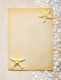 Blank sheet of paper on the sea sand. For beach party Royalty Free Stock Images
