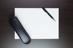 Blank sheet of paper on the table Stock Photography