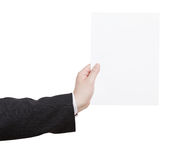 Blank sheet of paper in teacher hand Stock Images