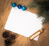 Blank sheet of paper on the wooden floor Stock Image