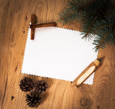 Blank sheet of paper on the wooden floor with a pencil Stock Images