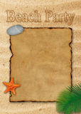Blank sheet of parchment paper on the beach sand for beach party Stock Image