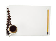 Blank sheet of white paper and coffee Royalty Free Stock Photography