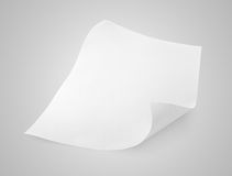 Blank sheet of white paper on gray Stock Image