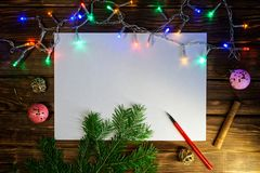Blank sheet for writing New Year`s wishes, congratulations and gifts. Happy New Year and Merry Christmas stock images