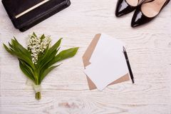 Blank sheets with envelope and flowers. Royalty Free Stock Images