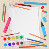Blank sheets of paper with school supplies Royalty Free Illustration