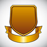 Blank shield with ribbon. Stock Photo