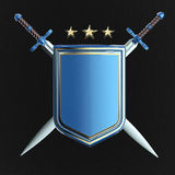 Blank shiny metallic shield and two crossed swords isolated. rendered image Royalty Free Stock Photo
