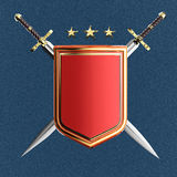 Blank shiny metallic shield and two crossed swords isolated. rendered image Royalty Free Stock Images