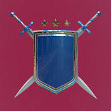 Blank shiny metallic shield and two crossed swords isolated. rendered image Stock Photos