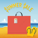 Blank shopping bag on beach and sea  background in summer sale concept .  Vector Stock Photos