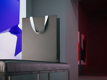 Blank shopping bag on the bench. 3d rendering Royalty Free Stock Photo