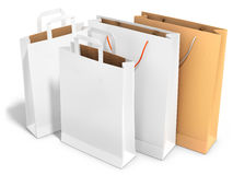 Blank shopping bags. On white background 3D illustration Stock Photos