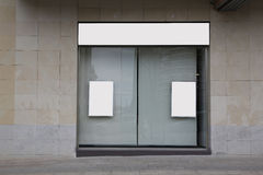 Blank showcase in a store royalty free stock photo