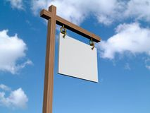 Blank sign. A 3d illustration of a wooden blank sign on a sky background Royalty Free Stock Photos