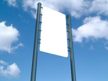 Blank sign. A 3d illustration of a blank sign on a sky background Royalty Free Stock Photo