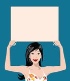 Blank sign. Illustration of a woman holding blank sign over navy blue Stock Photos