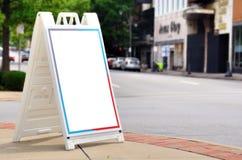 Blank Sign. On a city sidewalk stock photos