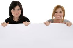 Blank Sign. Headshot of teen girls with blank sign Stock Photos