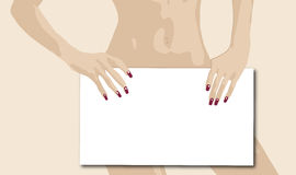 Blank Sign. Illustration of woman holding blank sign Stock Images