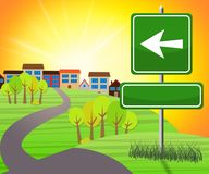 Blank Sign With Arrow To Countryside 3d Illustration. Blank Sign With Arrow Pointing To Countryside 3d Illustration Stock Image