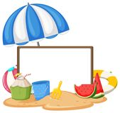 Blank sign at the beach stock illustration