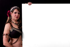 Blank sign Belly dancer Stock Photography