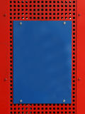 Blank sign. Blank blue metal sign on red metal background stock photos