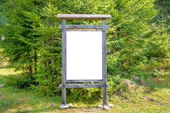 Blank sign board in the park Royalty Free Stock Photography