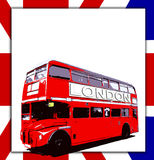 Blank Sign And Bus. London Routemaster bus a UK flag with blank sign Stock Images