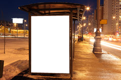 Blank sign at bus stop. In city royalty free stock photography