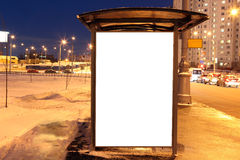 Blank sign at bus stop in city Royalty Free Stock Photos