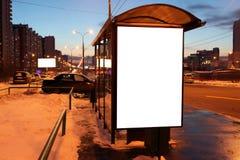 Blank sign at bus stop Royalty Free Stock Photos