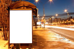 Blank sign at bus stop at evening Royalty Free Stock Photo