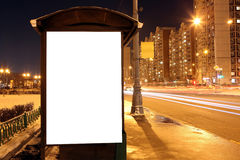Blank sign at bus stop at evening Stock Images