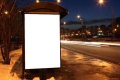 Blank sign at bus stop Stock Image