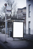 Blank sign at bus stop. For your design stock photos