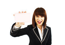 Blank sign business woman excited Royalty Free Stock Photos